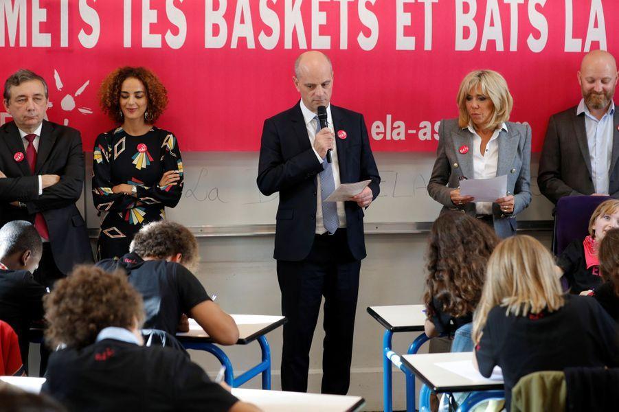 Jean-Michel Blanquer lit un texte de Leïla Slimani pour la dictée annuelle organisée par l'Association ELA.