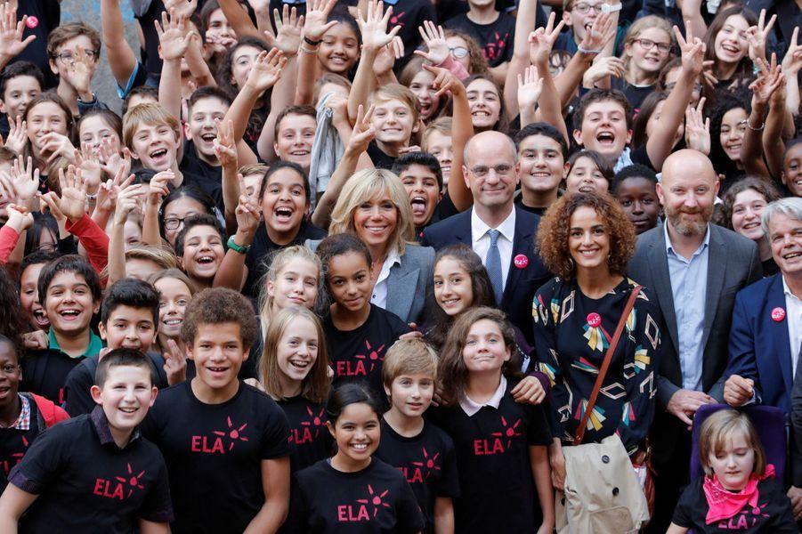 Jean-Michel Blanquer, entouré de Brigitte Macron etLeïla Slimani, à l'occasion de la dictée ELA.
