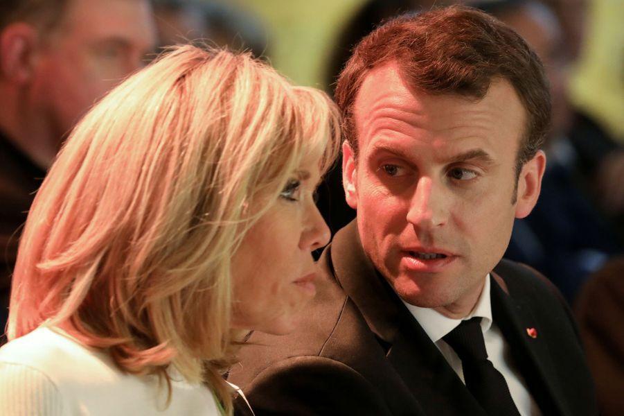 Emmanuel et Brigitte Macron aucollège des Bernardins à Paris.