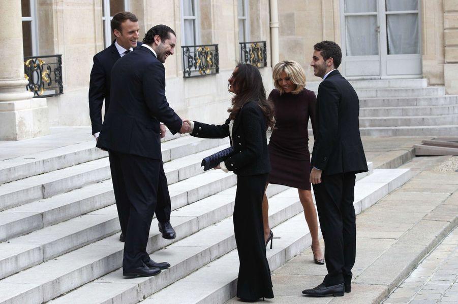 Saad et Lara Hariri et leur fils Houssam, reçus à l'Elysée par Emmanuel et Brigitte Macron.