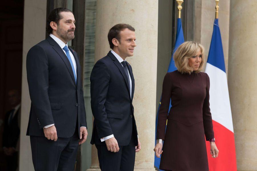 Saad Hariri, Emmanuel Macron et son épouse Brigitte.
