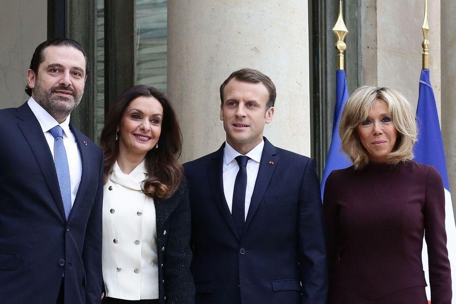 Saad et Lara Hariri reçus à l'Elysée par Emmanuel et Brigitte Macron.