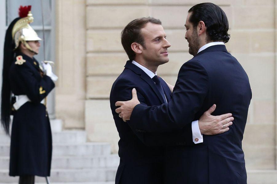 Emmanuel Macron accueilleSaad Hariri à l'Elysée.