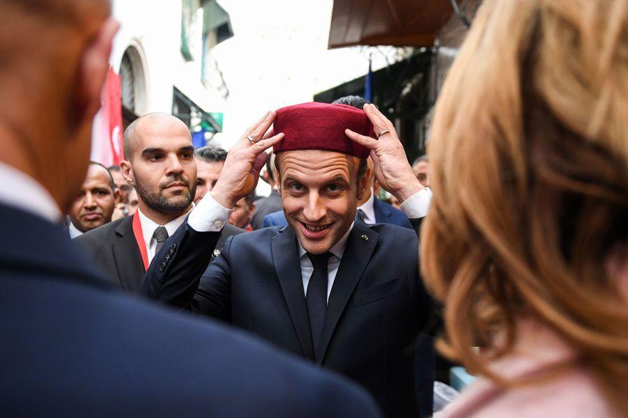 Emmanuel Macron le 1er février 2018 à Tunis, en Tunisie.