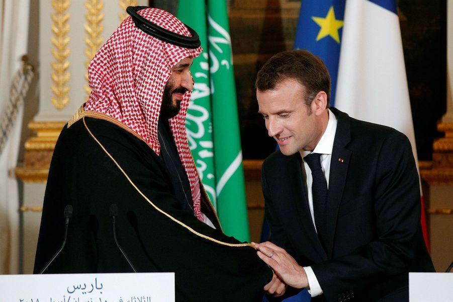 Mohammed ben Salmane et Emmanuel Macron à l'Elysée le 10 avril 2018.