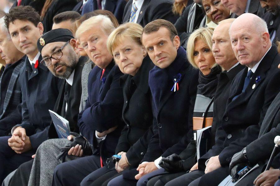 Poutine, Trump, Merkel, Trudeau, Mohammed VI... Tous ont été accueillis à Paris pour le centenaire de l'armistice de 1918, ici à l'Arc de Triomphe, le 11 novembre 2018.