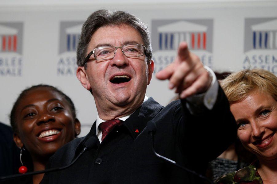 Jean-Luc Mélenchon (La France insoumise) sans cravate à l'Assemblée nationale le 27 juin 2017.