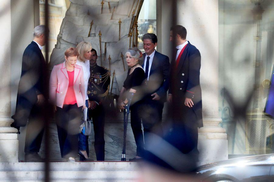 Laurence Parisot, Brigitte Macron et Brigitte Bardot, à l'Elysée mardi.