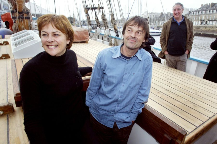 Mars 2007, la candidate écologiste à la présidentielle Dominique Voynet et Nicolas Hulot, à bord du «Fleur de Lampaul», propriété à l'époque dela Fondation Nicolas Hulot.
