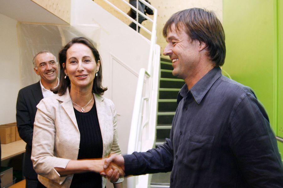 Ségolène Royal, candidate à la présidentielle et Nicolas Hulot, en mars 2007.