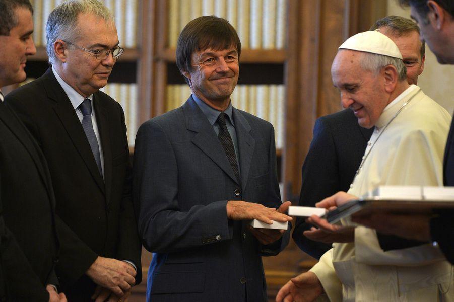Nicolas Hulot rencontre le pape François au Vatican en janvier 2014.