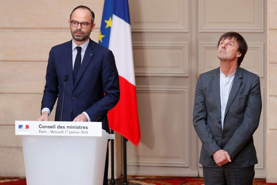 Edouard Philippe et Nicolas Hulot en janvier à l'Elysée lors de l'annonce de l'abandon du projet d'aéroport à Notre-Dame-des-Landes.