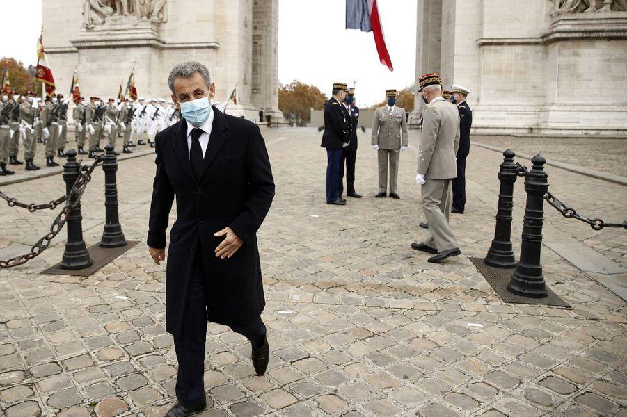 Nicolas Sarkozy lors de la cérémonie à l'Arc de Triomphe.
