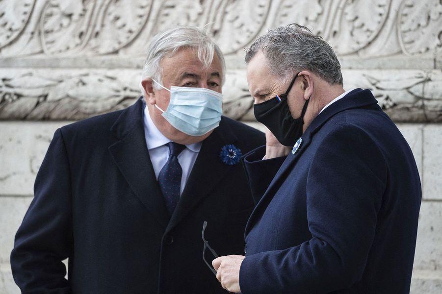 Gérard Larcher et Richard Ferrandlors de la cérémonie à l'Arc de Triomphe.