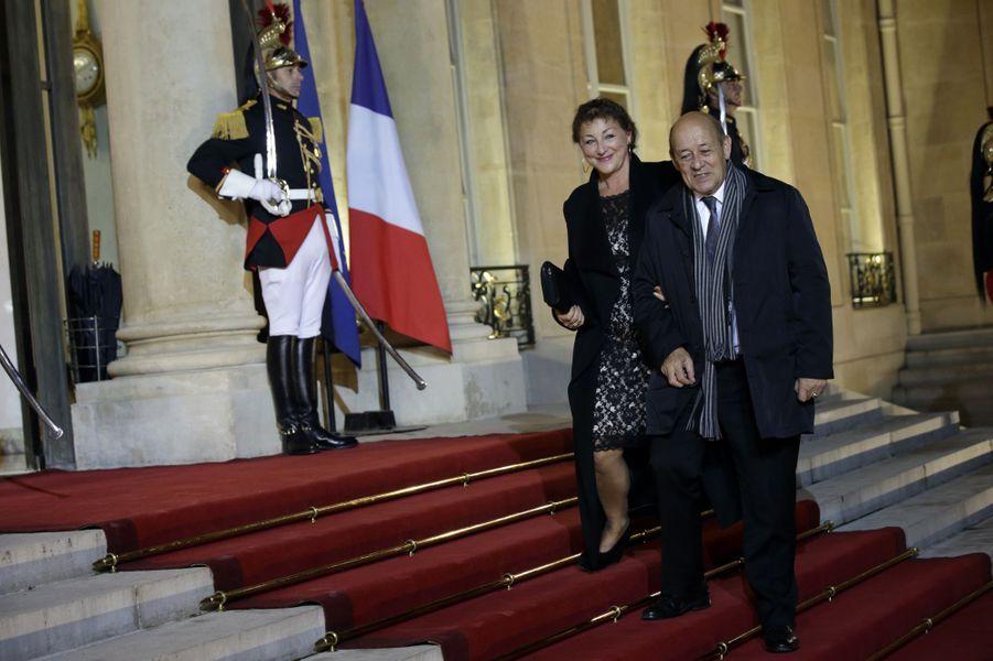 Jean-Yves Le Drian et son épouse Maria Vadillo au dîner d'Etat donné en l'honneur du président malien à l'Elysée