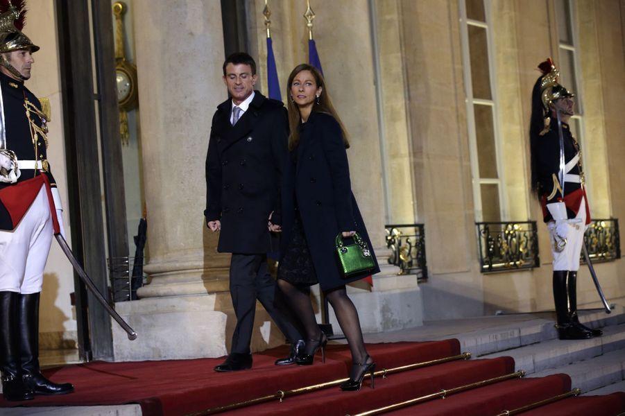 Manuel Valls et Anne Gravoin au dîner d'Etat donné en l'honneur du président malien à l'Elysée