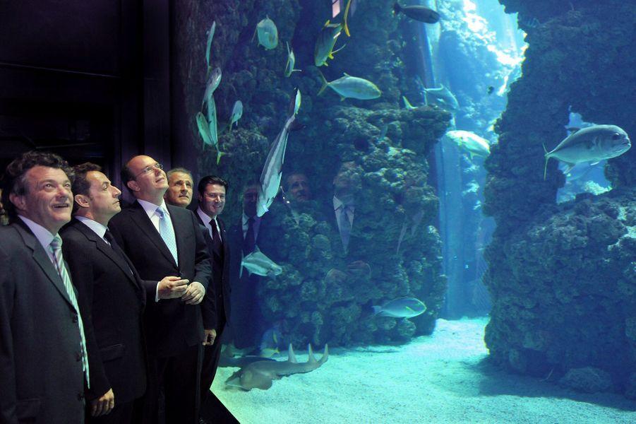 Le prince Albert II faisant visiter l'aquarium du Musée océanographique de Monaco à Nicolas Sarkozy accompagné de Jean-Louis Borloo, Hubert Falco et Christian Estrosi en 2008.