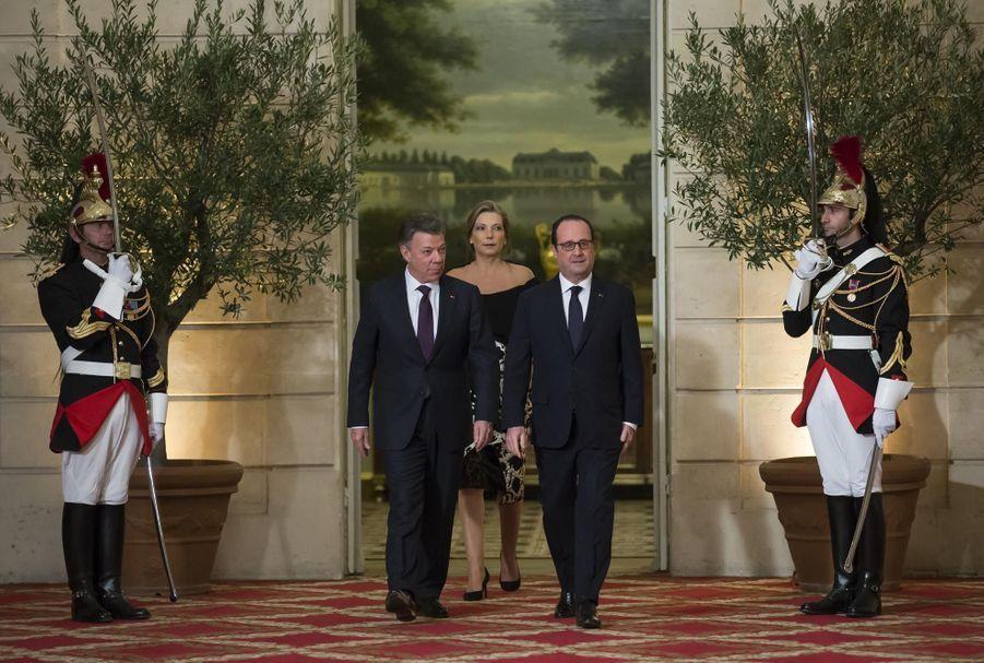 François Hollande, Juan Manuel Santos, et Maria Clemencia