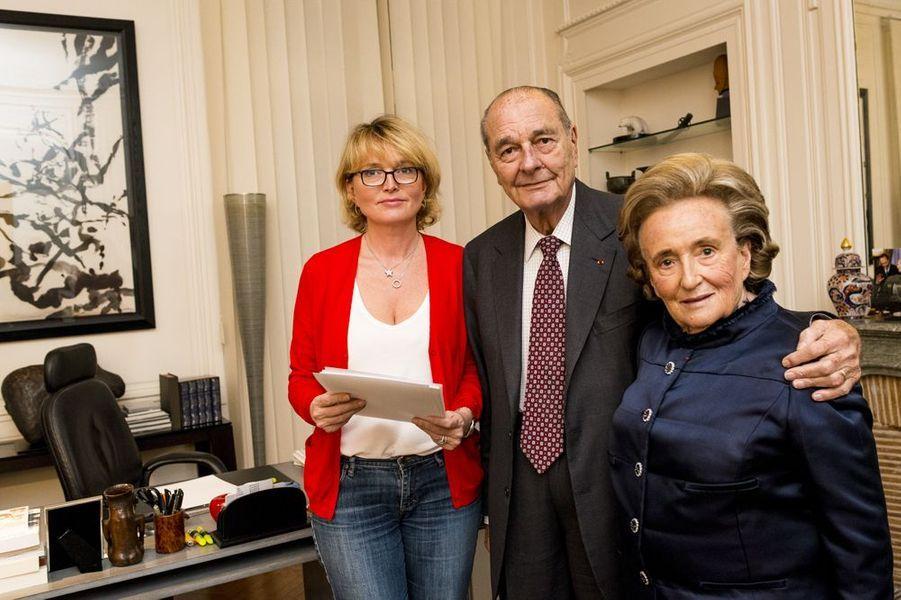 Jacques Chirac avec sa fille Claude et son épouse Bernadette, novembre 2013