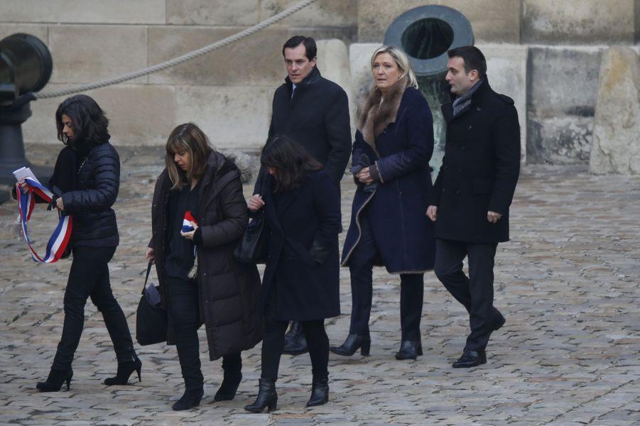 Nicolas Bay, Marine Le Pen et Florian Philippot à leur arrivée