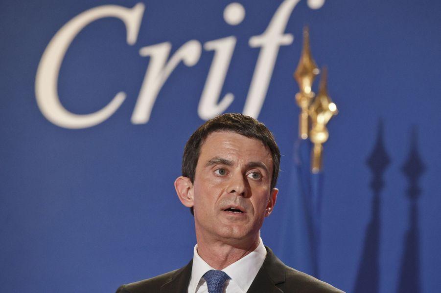 Manuel Valls au dîner annuel du Crif à Paris le 7 mars 2016