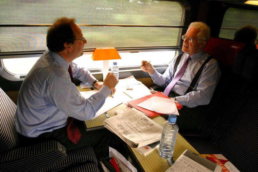 Mai 2005 : avant le référendum sur l'Europe, Lionel Jospin accompagne François Hollande à un meeting