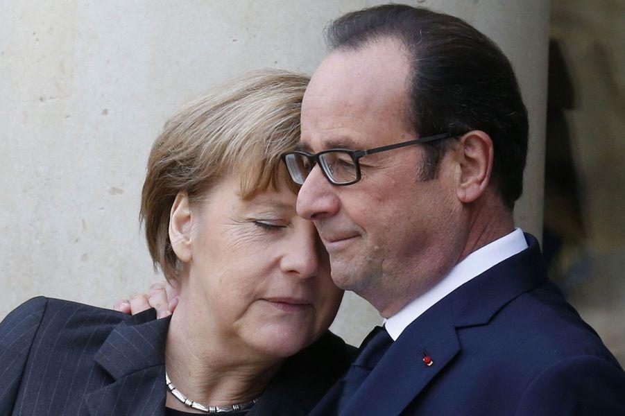 Avec Angela Merkel, le 11 janvier 2015