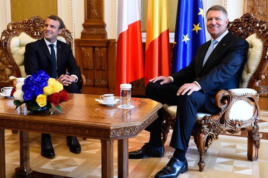 Entretien entre Klaus Iohannis et Emmanuel Macron auPalais Cotroceni.