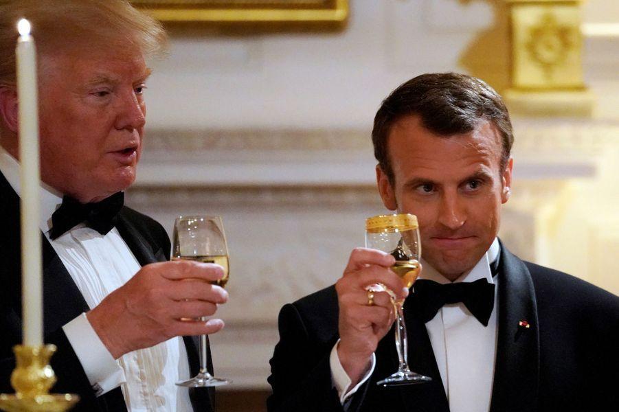 Donald Trump etEmmanuel Macron mardi soir à la Maison-Blanche lors du dîner d'Etat en l'honneur du couple présidentiel français.