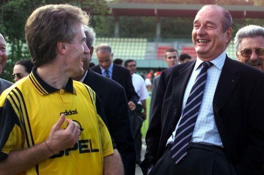 Jacques Chirac et Didier Deschamps le 3 juin 1998 à Clairefontaine.