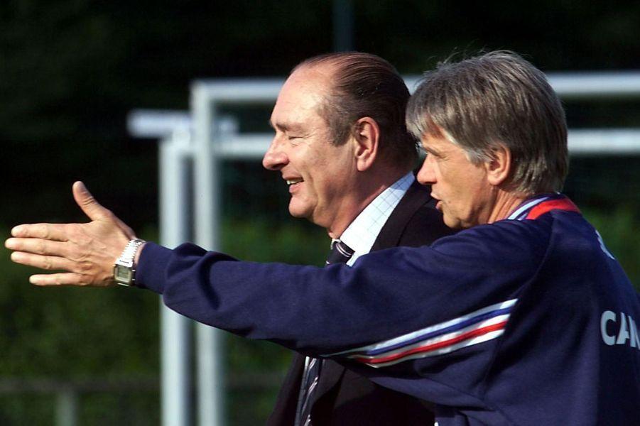 Jacques Chirac et Aimé Jacquet, à Clairefontaine.