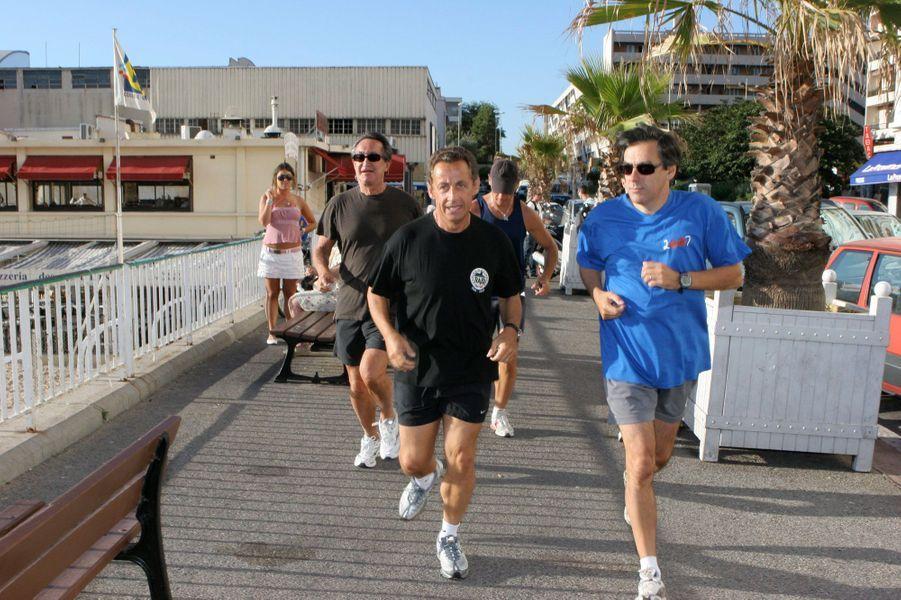 Jogging avec Nicolas Sarkozy , en septembre 2006 à Marseille.