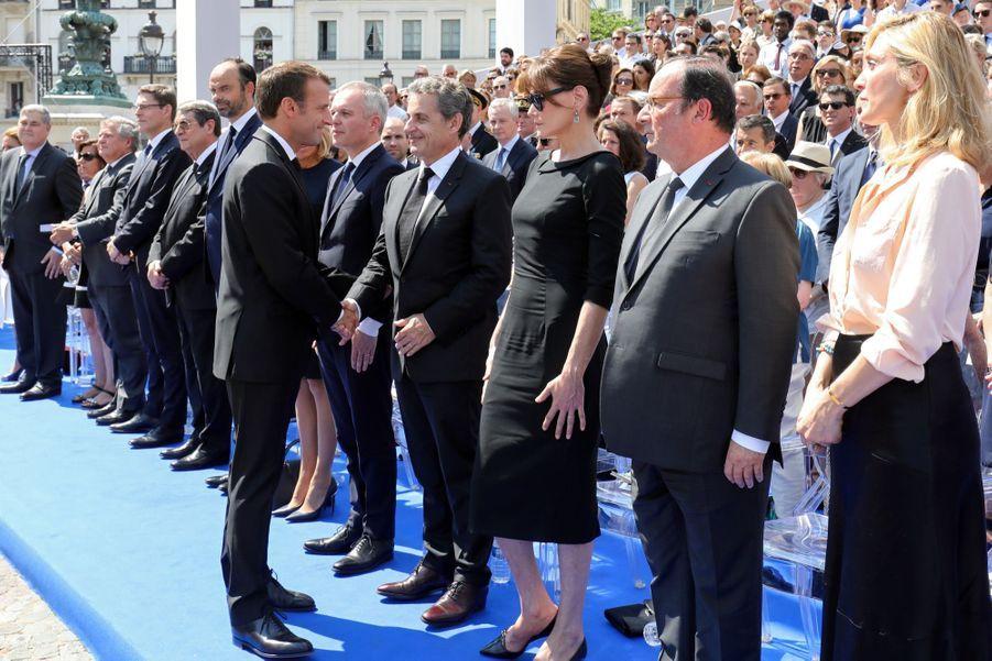 François Hollande, Julie Gayet, Nicolas Sarkozy Et Carla Bruni À La Cérémonie De L'entrée Au Panthéon De Simone Veil ( 14
