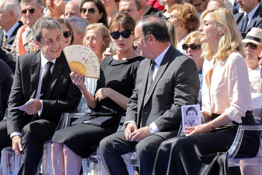François Hollande, Julie Gayet, Nicolas Sarkozy Et Carla Bruni À La Cérémonie De L'entrée Au Panthéon De Simone Veil ( 5