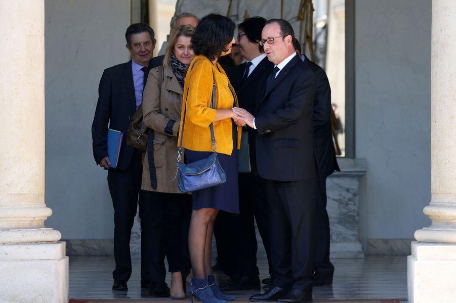 François Hollande et Najat Vallaud-Belkacem et Myriam El Khomri.