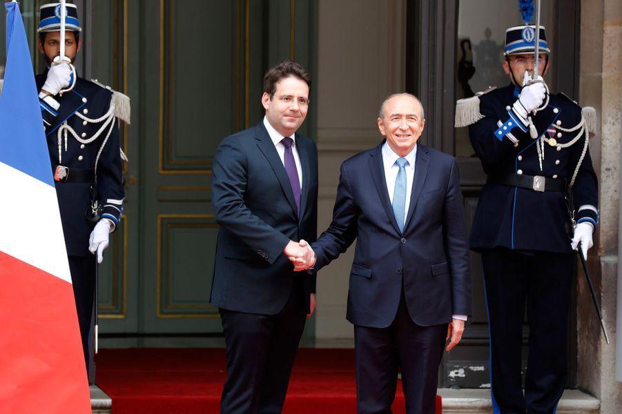 Matthias Fekl et Gérard Collomb, nouveau ministre de l'Intérieur.