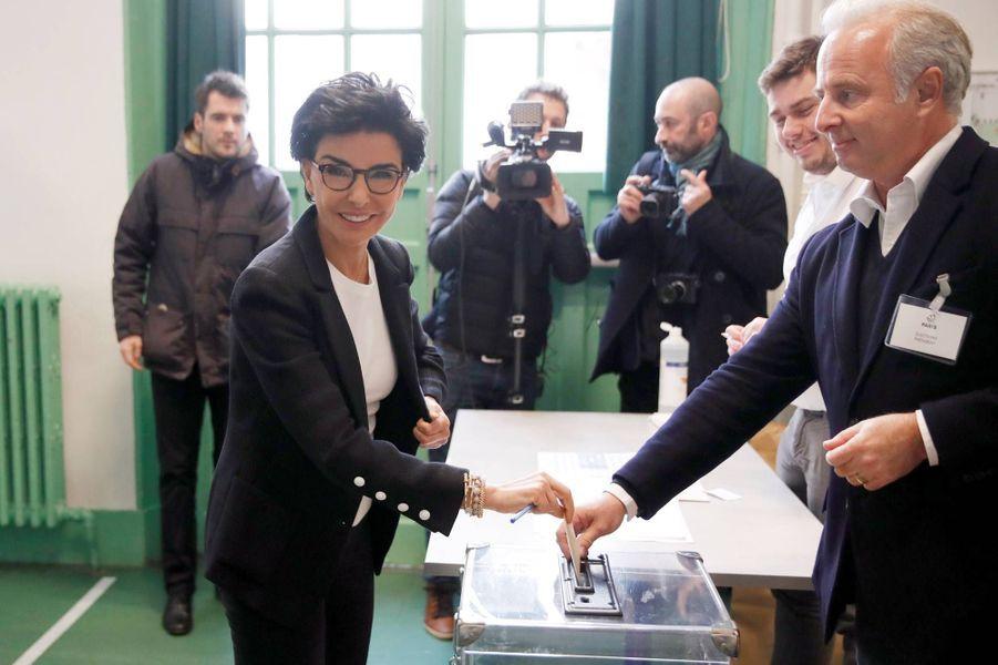 Rachida Dati a voté à Paris pour le premier tour des élections municipales, le 15 mars 2020.