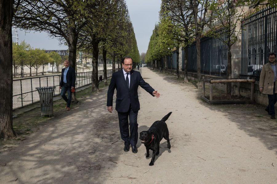 Balade avec Philae dans le jardin des Tuileries,le 11 avril 2018.