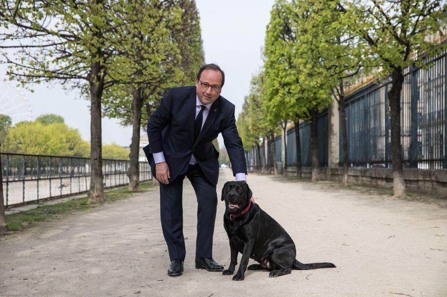François Hollande avec Philae dans le jardin des Tuileries, en face de ses nouveaux bureaux situés rue de Rivoli, le 11 avril 2018.