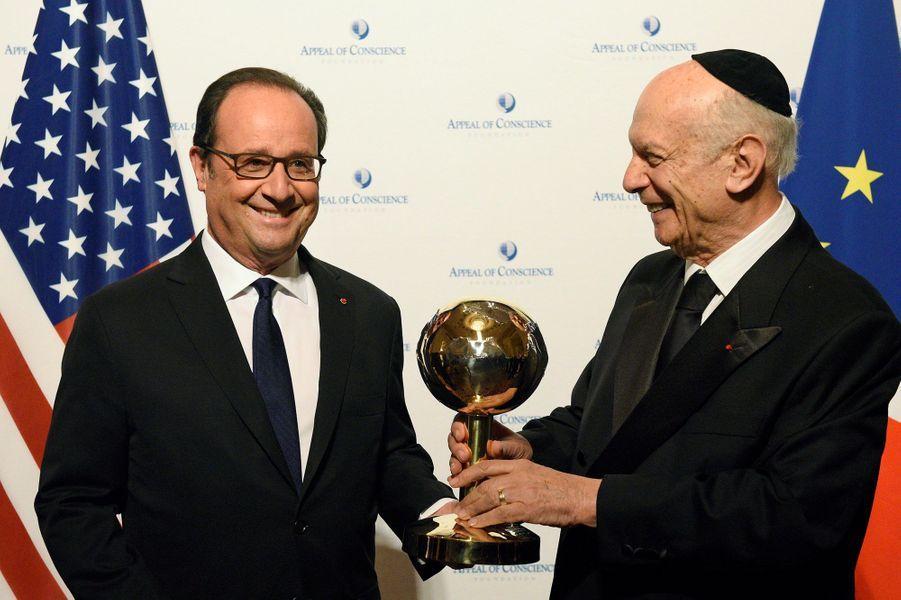 Francois Hollande et le rabbin Arthur Schneier