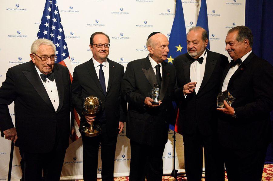 Henry Kissinger, Francois Hollande, Arthur Schneier, Arthur Schneier, Carlos Slim Helu et Andrew Liveris