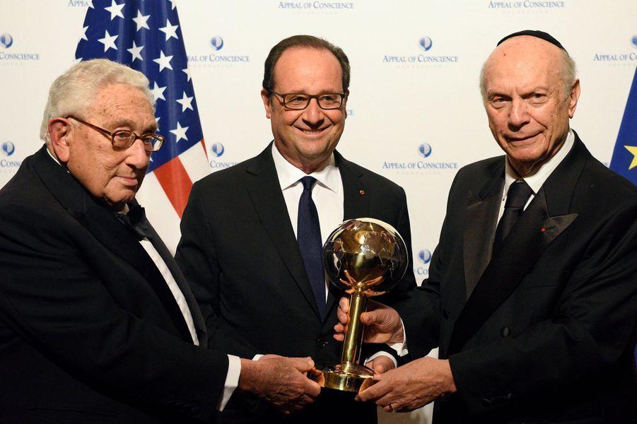 Henry Kissinger, Francois Hollande et Arthur Schneier