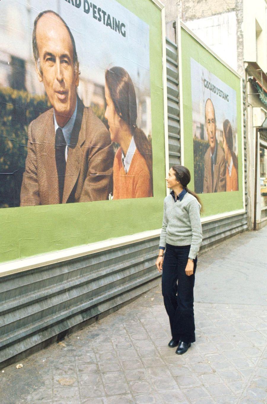 Jacinte Giscard d'Estaing apparaît sur l'affiche de la campagne présidentielle de son père en 1974.