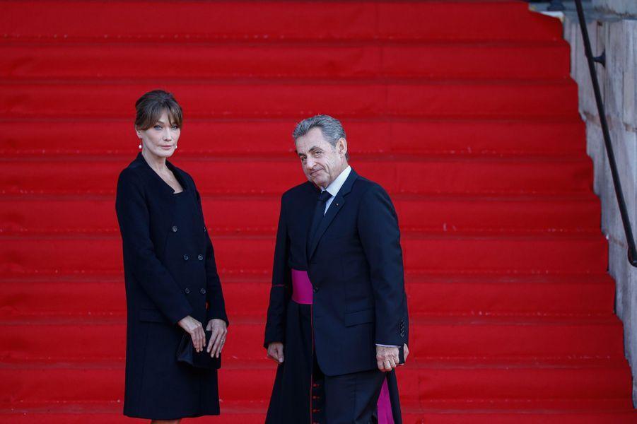 Arrivée de Nicolas Sarkozy et son épouse Carla Bruni-Sarkozy.