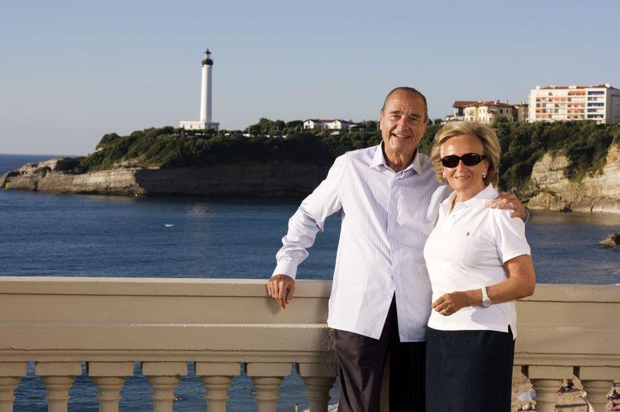 Jacques Chirac avec son épouse Bernadette, à Biarritz.