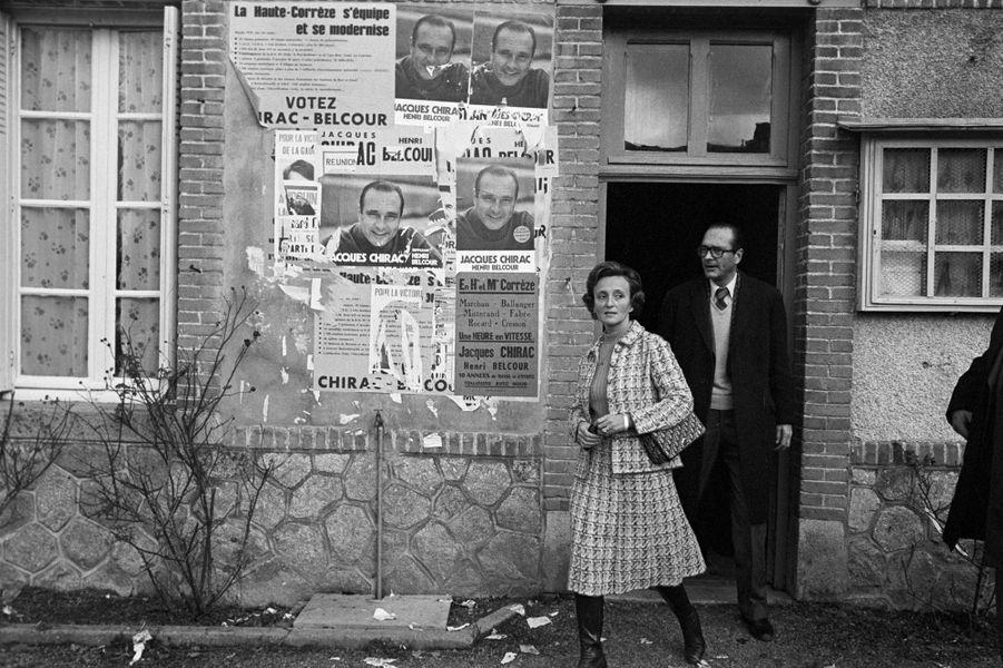 France, 15 novembre 1976. Campagne électorale de l'homme d'état Jacques Chirac pour la présidence du Conseil général de la Corrèze.