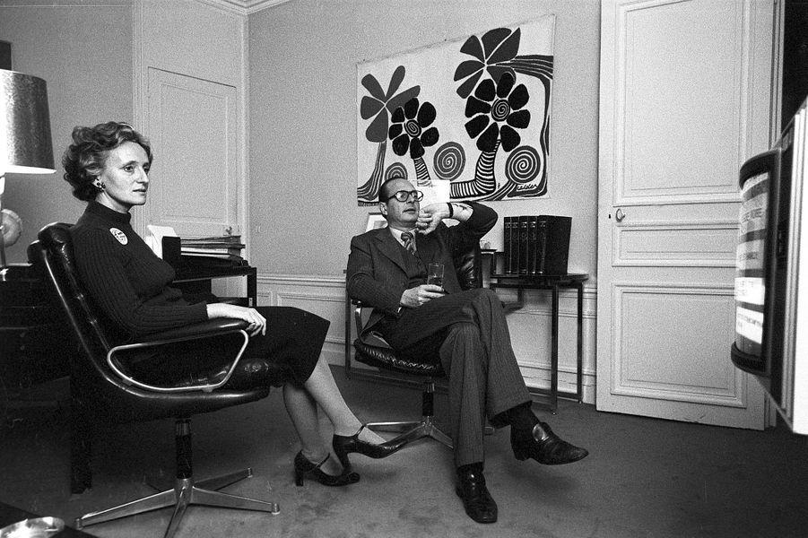 Paris 5-6 décembre 1976. Assises du RPR (Rassemblement pour la République) au Palais des congrès de la Porte de Versailles dont Jacques Chirac vient d'être élu président.