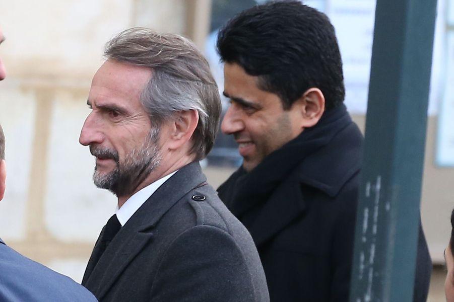 Jean-Claude Blanc, directeur général du PSG, et Nasser Al-Khelaïfi, président du club parisien,aux obsèques d'Andrée Sarkozy.