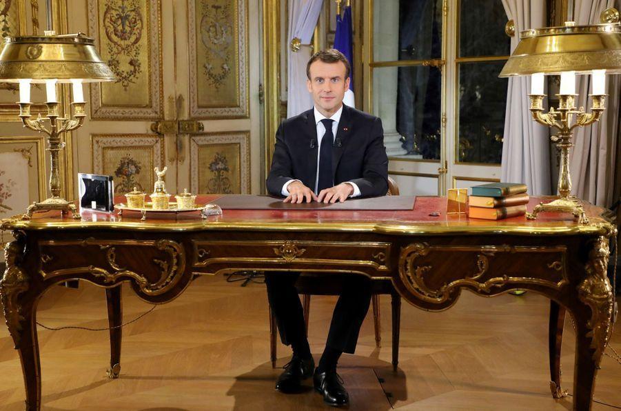 10 décembre 2018. Emmanuel Macron s'adresse aux Français depuis l'Elysée, après plusieurs week-ends de manifestations des gilets jaunes.