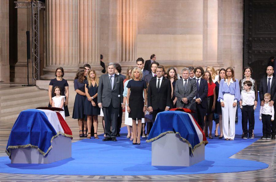 1er juillet 2018.Emmanuel Macron, son épouse Brigitte et les proches de Simone et Antoine Veil lors de l'entrée au Panthéon du couple.